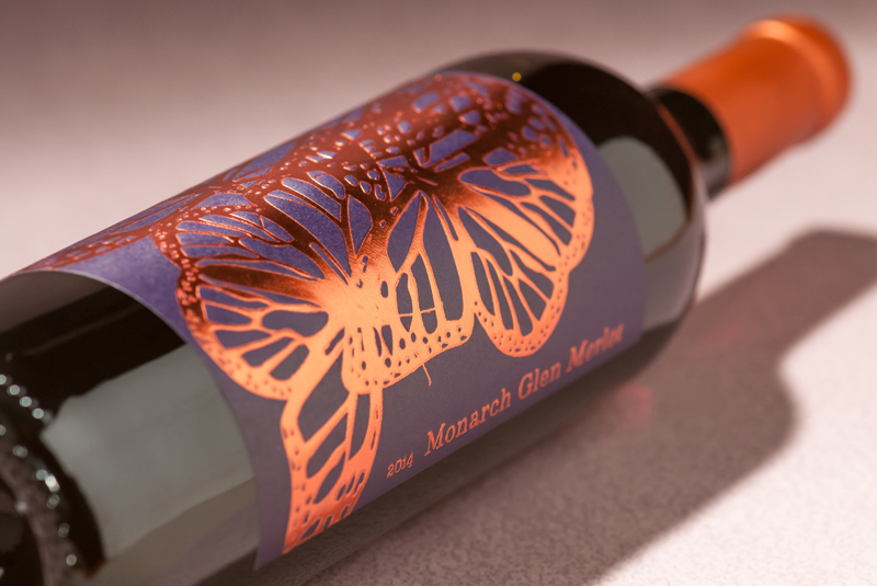 butterfly wine label design